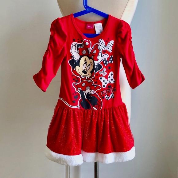 Minnie Mouse Christmas Dress.Disney Minnie Mouse Red Christmas Dress 6 6x S